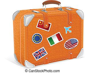 vendemmia, isolato, illustrazione, vettore, valigia, bianco