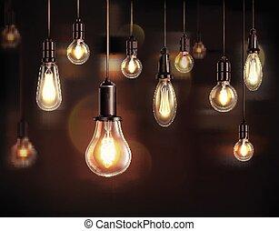 vendemmia, lampadine, fondo, luce