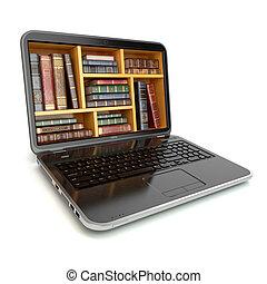 vendemmia, laptop, isolato, libro biblioteca, libri, white., internet, store., e-imparando, educazione, o