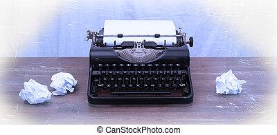 vendemmia, libri, vecchio, macchina scrivere