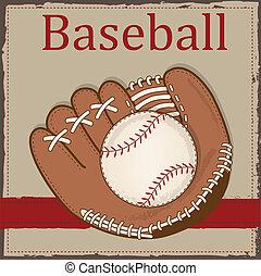 vendemmia, manopola, baseball, o, guanto