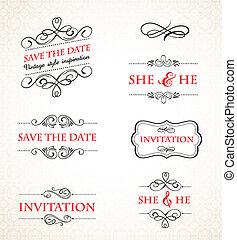 vendemmia, matrimonio, vettore, set, inviti