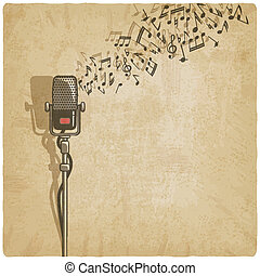 vendemmia, microfono, fondo