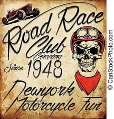 vendemmia, motociclista, emblema, cranio
