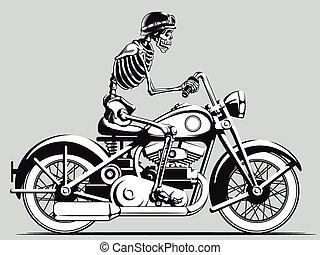 vendemmia, motociclista, vettore, scheletro, silho
