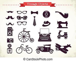 vendemmia, oggetti, hipster, collezione