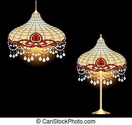 vendemmia, pendenti, cristallo, lampada, candeliere, tavola