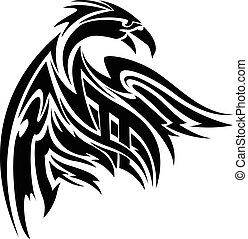 vendemmia, phoenix, tatuaggio, engraving.