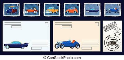 vendemmia, postale, postcards., vettore, affrancatura, stams, isolato, set, vuoto, illustrations., buste, collezione, francobolli, retro, cars.