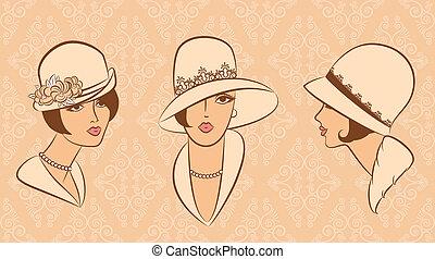 vendemmia, ragazza, moda, hat.