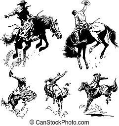 vendemmia, rodeo, vettore, grafica