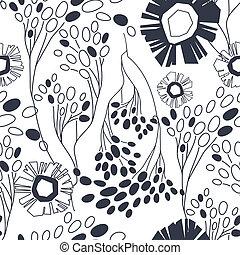 vendemmia, seamless, mano, modello, floreale, disegnato, fiori