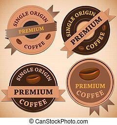 vendemmia, serie caffè, retro, tesserati magnetici