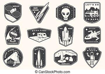 vendemmia, silhouette, terra, distintivo, stampa, marte, furgone, tipografia, luna, set, camicia, disegno, stamp., patch., vector., città, campeggiatore, straniero, razzo, missione spaziale, concetto, logotipo