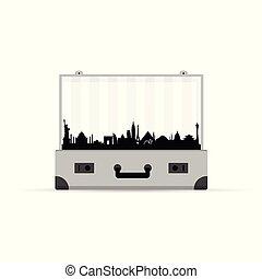 vendemmia, simbolo, grigio, illustrazione, valigia, viaggiare