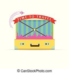 vendemmia, simbolo, illustrazione, giallo, valigia, viaggiare