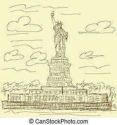 vendemmia, statua, libertà