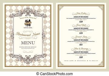 vendemmia, stile, ristorante, disegno, menu