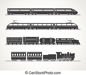 vendemmia, treno, moderno, silhouette, collezione