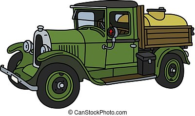 vendemmia, verde, camion, serbatoio
