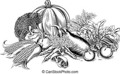 vendemmia, verdura, retro, woodcut