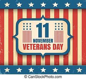 vendemmia, vettore, giorno veterani, manifesto