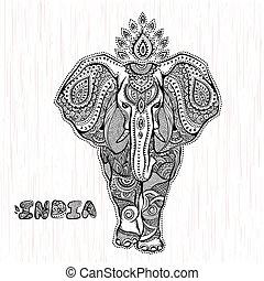 vendemmia, vettore, indiano, illustrazione, elefante