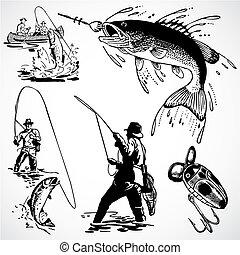 vendemmia, vettore, pesca, grafica