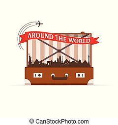 vendemmia, viaggiare, simbolo, illustrazione, valigia