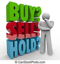 vendere, comprare, 3d, parole, presa, investitore, mercato, casato