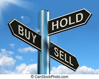 vendere, comprare, signpost, stock, strategia, presa, rappresentare