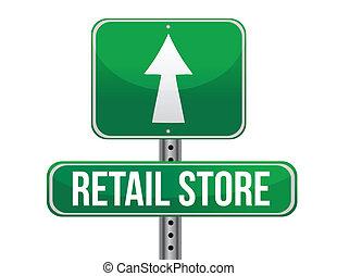 vendita dettaglio, segno strada