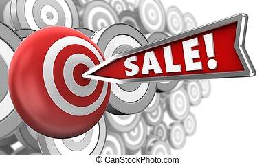 vendita, freccia, 3d