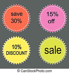 vendita, labels., vettore, set