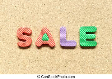 vendita, lettera alfabeto, legno, fondo, schiuma, parola