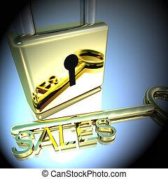 vendita, lucchetto, marketing, esposizione, vendite, interpretazione, chiave, 3d