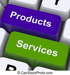 vendita, mostra, chiavi, prodotti, linea, servizi, acquisto