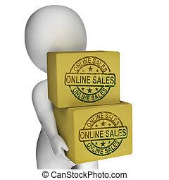 vendita, mostra, vendite internet, scatole, linea, acquisto