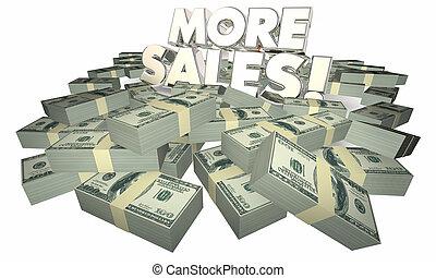 vendita, parole, più, vendite, soldi, successo, illustrazione, 3d