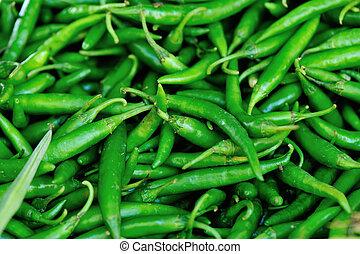 vendita, peper, verde, fresco, mercato locale