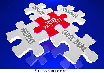 vendita, processo, puzzle, tecnica, vendite, illustrazione, pezzi, 3d