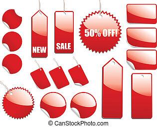 vendita, rosso, etichette