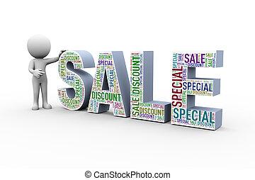 vendita, scontare, wordcloud, 3d, speciale, uomo