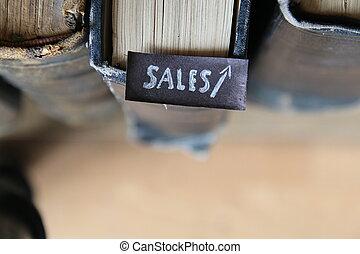 vendite, crescita affari, textbook.