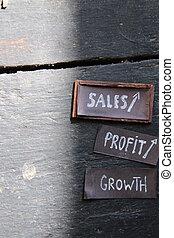 vendite, crescita, profitto, concept.