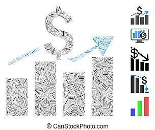vendite, icona, collage, grafico, sbarra, lineetta
