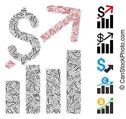 vendite, icona, mosaico, crescita, lineetta