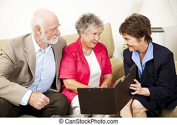 vendite, in-home, riunione