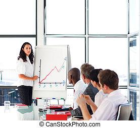 vendite, lei, squadra, figure, donna d'affari, segnalazione