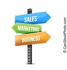 vendite, marketing, affari, segno strada